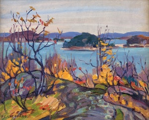 Artwork by Peter Clapham Sheppard, Tangled Woods, Autumn, Hollow Lake Ontario