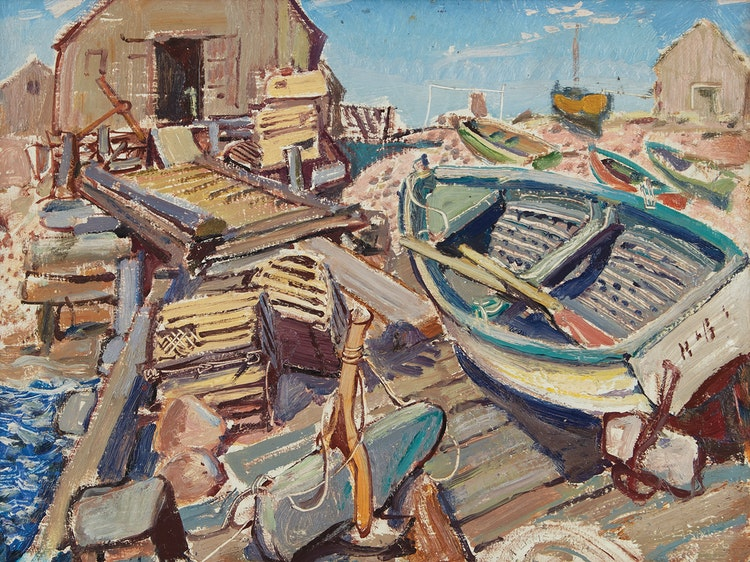 Artwork by Arthur Lismer,  Neil's Harbour, Cape Breton Island
