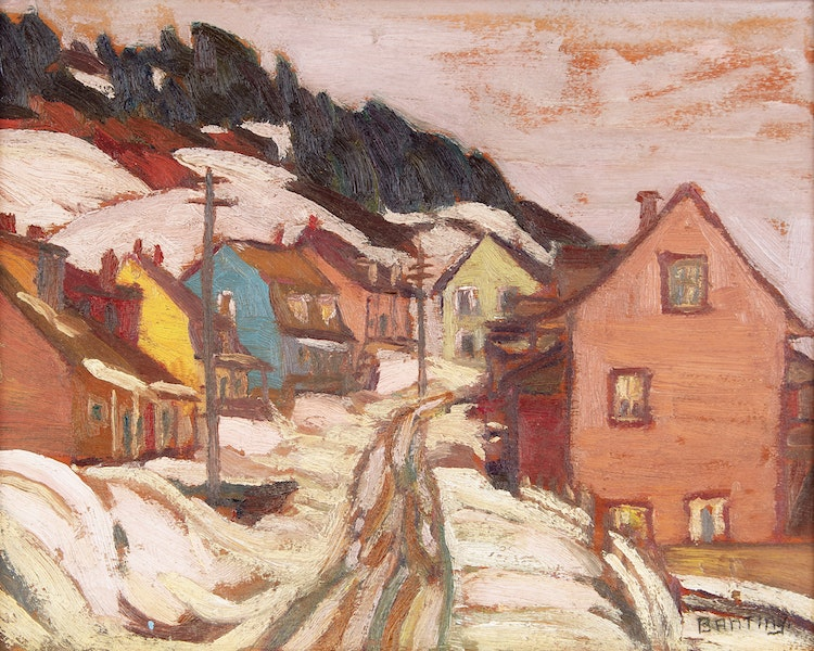 Artwork by Frederick Grant Banting,  Village in Winter