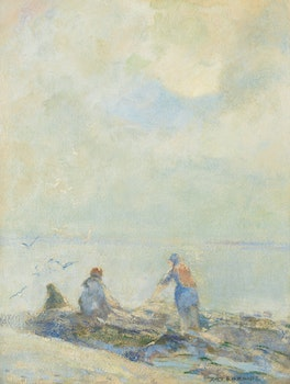 Artwork by Arthur Dominique Rozaire, Misty Morning, Clam Diggers St. Lawrence