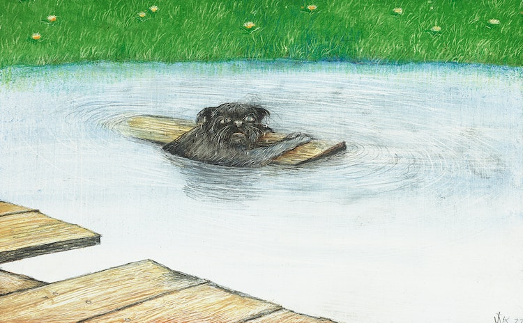 Artwork by William Kurelek,  I Hate Water (A Cat's Loss of Dignity)