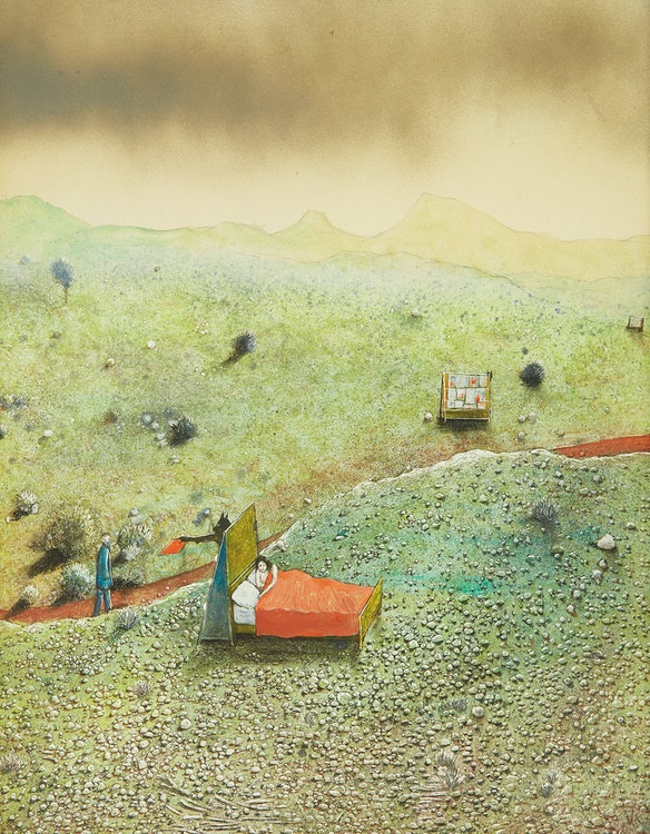Artwork by William Kurelek,  Pornographic Reading (Temptations in the Desert Series)