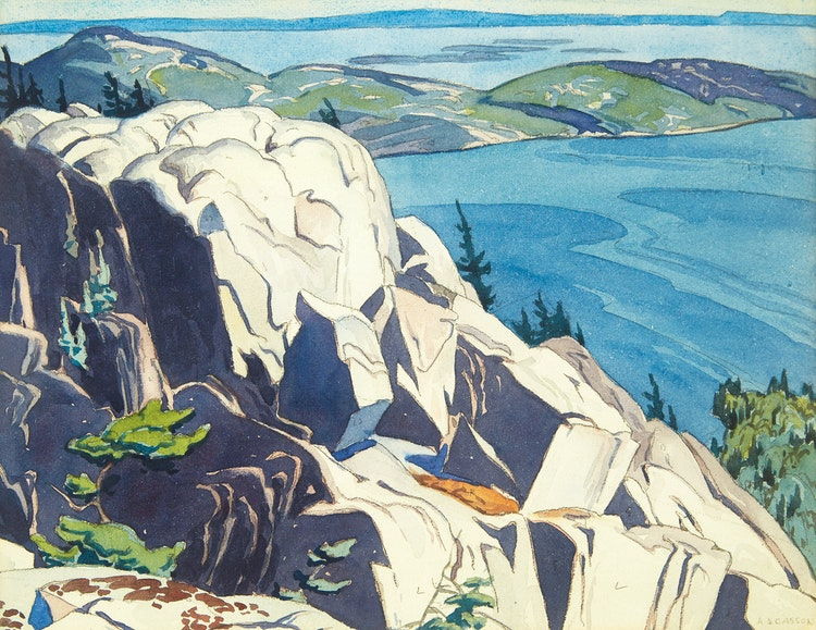 Artwork by Alfred Joseph Casson,  Fraser Bay from the Mustard Cut (Looking West on Baie Fine toward Fraser Bay)