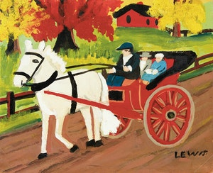 Artwork by Maud Lewis, Horse-Drawn Carriage