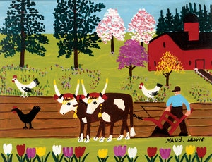 Artwork by Maud Lewis, Team of Oxen Ploughing