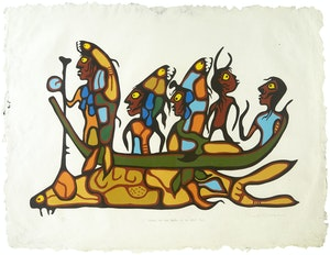 Artwork by Norval Morrisseau, Legend of Fish People at the Great Flood