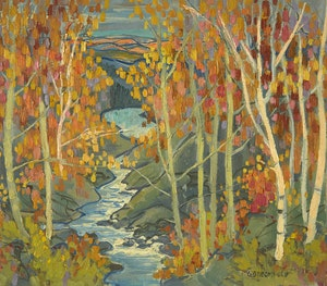 Artwork by Adolphus George Broomfield, On the Dorset Road, Algonquin Park (from the Bridge)