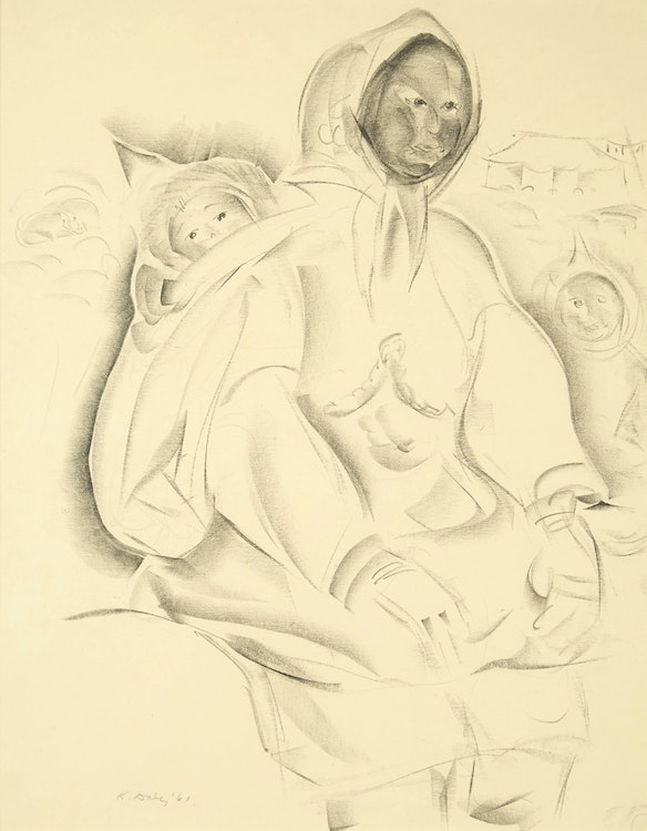Artwork by Kathleen Francis Daly Pepper,  Inuit Mother and Child