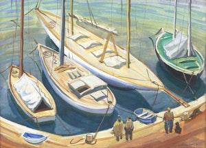 Artwork by Doris Jean McCarthy, Little Yachts at St. Tropez