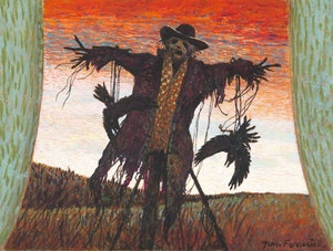 "Artwork by Thomas de Vany Forrestall, ""The Field Watchman""; ""Woodpile and Crows""; Bird Carcass"