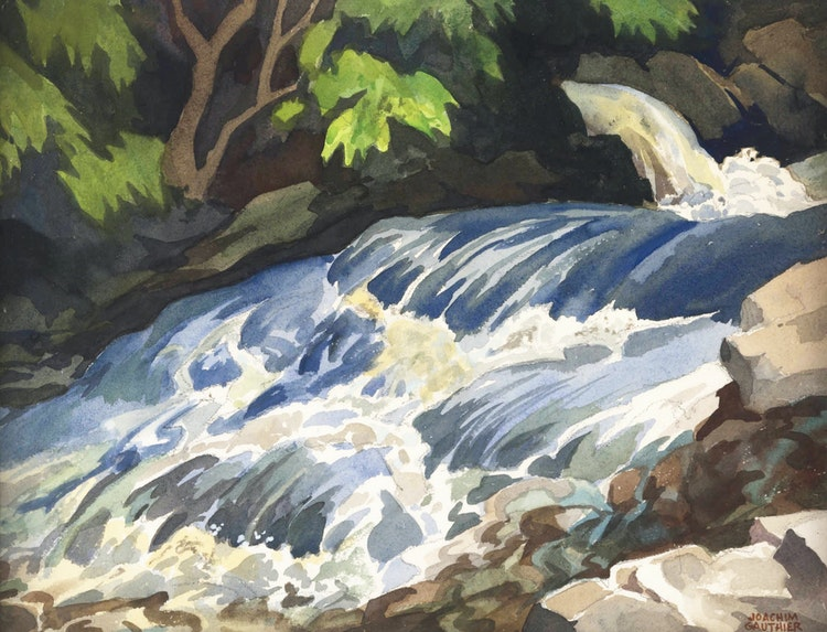 Artwork by Joachim George Gauthier,  On the Buckslide River, Lake Kushog