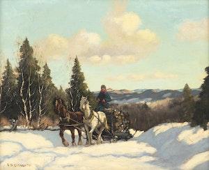 Artwork by  Canadian School, Winter Sleighing Scene