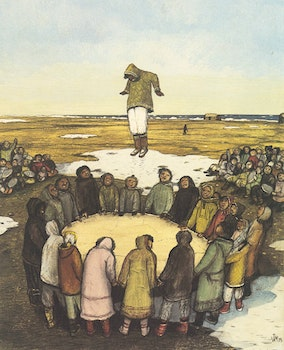 Artwork by William Kurelek, Sky Tossing