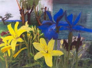 Artwork by John Hartman, Yellow Day Lillies & Blue Siberian Irises