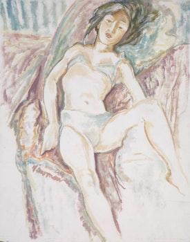 Artwork by John Beatty Newman, Model in Blue