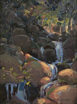 Artwork by Arthur Dominique Rozaire, Waterfall in Shadow