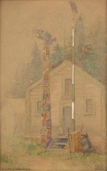 Artwork by John Kyle, Totem Poles at Alert Bay