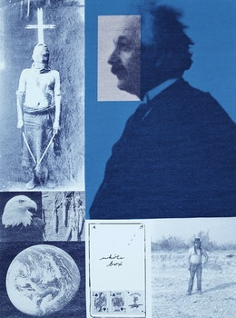 Artwork by Carl Beam, Albert in the Blue Zone