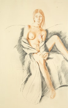 Artwork by Fred Ross, Study for Woman in Striped Gown II