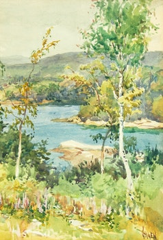 Artwork by Robert Ford Gagen, Shoreline landscape