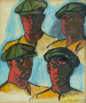Artwork by Fritz Brandtner, Four Heads of Workers