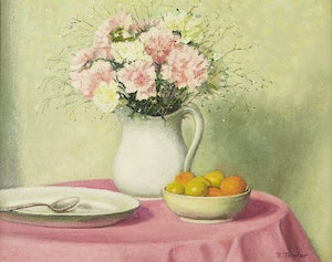 Artwork by Frederick Bourchier Taylor, Carnations, Peaches and Plums