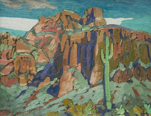 Artwork by Illingworth Holey Kerr, Superstition Mountains, Nocturne, Mesa, Arizona