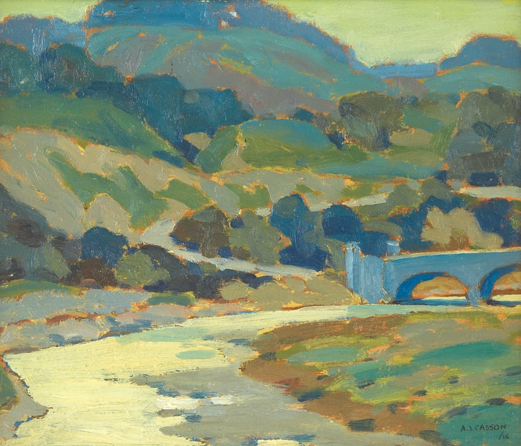 Artwork by Alfred Joseph Casson,  Bridge over Humber River