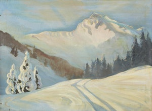 Artwork by Ralph Wallace Burton, Snowy Mountainscape