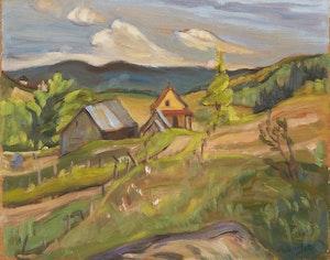 Artwork by Ralph Wallace Burton, Farm Scene; Walking down the Path