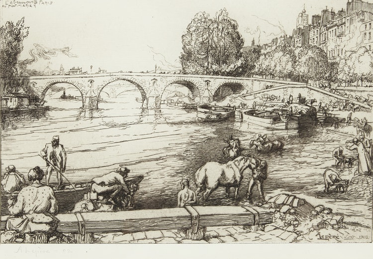 Artwork by Auguste-Louis Lepère,  L'abrevoir au Pont-Marie, Paris