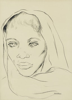 Artwork by Louis Muhlstock, Untitled (Portrait)