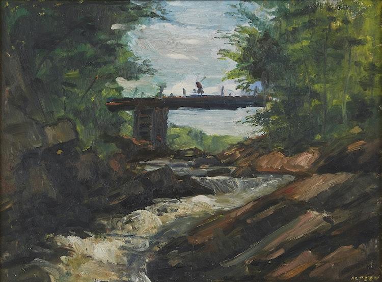 Artwork by John Alfsen,  River Landscape with Bridge
