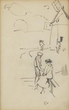 Artwork by Arthur Lismer, Figure Study with Windmill