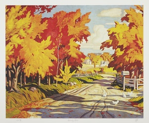 Artwork by Alfred Joseph Casson, Country Road; Grey March Day; Thunderstorm