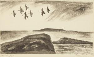 Artwork by Thoreau MacDonald, Canada Geese; Rapids at Night III