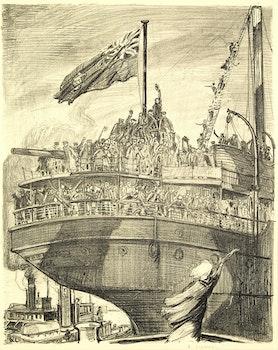 Artwork by Arthur Lismer, Departure of a Troop Ship 1918-1919