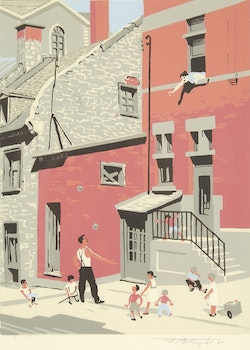 Artwork by Frederick Bourchier Taylor, Looking Up St. Cecile Street, Montreal