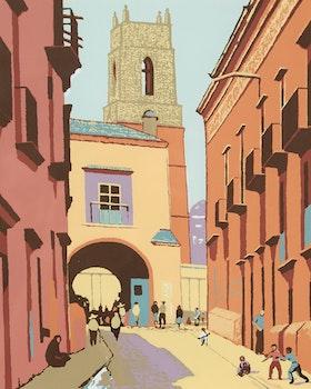 Artwork by Frederick Bourchier Taylor, Untitled (Street Scene)