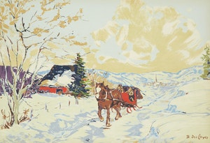 Artwork by Berthe Des Clayes, The Red Sleigh