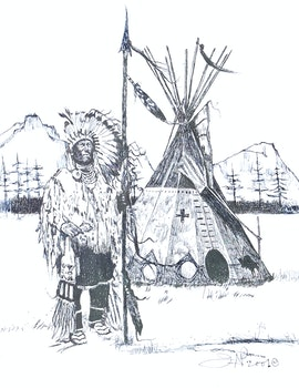 Artwork by Jane Ash Poitras, Native Figure Beside Teepee