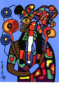 Artwork by Norval Morrisseau, Self Portrait of the Artist - Astral Projection