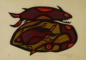 Artwork by Norval Morrisseau, Loon and Fish