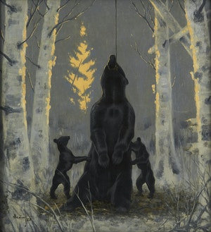 Artwork by Arthur Henry Howard Heming, Ensnared Bear