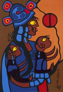 Artwork by Norval Morrisseau, Artist's Spiritual Wife and Children