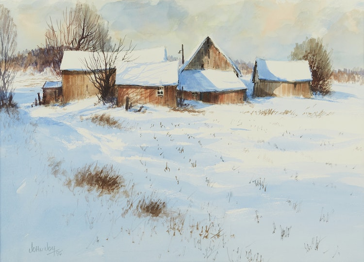 Artwork by John Joy,  Farm in Winter