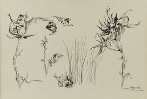 Artwork by Carl Fellman Schaefer, Milk Weed After Winter, Waterloo County