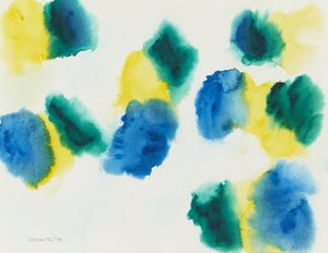 Artwork by Gershon Iskowitz, Abstraction in Blue, Green and Yellow