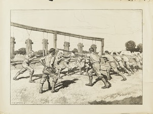 Artwork by Charles William Jefferys, Training Camp