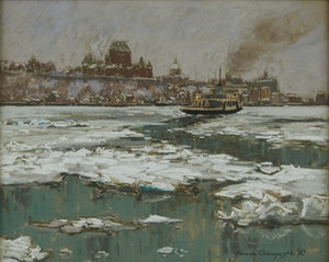 Artwork by Horace Champagne, Winter Mist (Ferry Crossing to Quebec City from Levis)